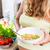 kobieta · w · ciąży · musli · owoców · stałego · blacie · kuchennym - zdjęcia stock © kzenon