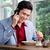 knap · zakenman · praten · mobiele · telefoon · restaurant · business - stockfoto © kzenon