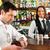 barista · ügyfél · kávézó · iszik · kávé · üveg - stock fotó © Kzenon