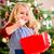 mooi · meisje · eten · christmas · cookies · drinken · thee - stockfoto © kzenon