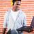 adam · komik · yüzü · yazarak · bilgisayar · klavye · çalışmak - stok fotoğraf © kzenon