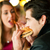 couple in restaurant eating fast food stock photo © kzenon