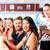 people in american diner or restaurant with milk shakes stock photo © kzenon