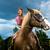 若い女の子 · ライディング · ポニー · 楽しい · 肖像 · 笑みを浮かべて - ストックフォト © kzenon