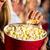 kız · yeme · patlamış · mısır · sinema · film · tiyatro - stok fotoğraf © Kzenon