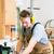 homme · circulaire · vu · santé · travailleur · masque - photo stock © kzenon
