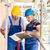 construction workers on site having discussion in scaffold with stock photo © kzenon