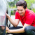 アジア · 男 · 洗浄 · 車 · スポンジ · 家 - ストックフォト © Kzenon
