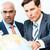homens · de · negócios · discutir · projeto · indiano · caucasiano · olhando - foto stock © Kzenon