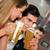 pár · bár · iszik · sör · flörtöl · csoportkép - stock fotó © kzenon