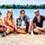 четыре · человека · сидят · пляж · небе · песок · свободу - Сток-фото © kzenon