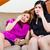 kettő · ázsiai · lányok · otthon · néz · tv - stock fotó © kzenon