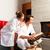sesión · albornoz · abierto · chimenea · mujer - foto stock © kzenon