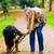 kobieta · psa · Stick · gry · spadek · parku - zdjęcia stock © kzenon
