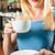 barista · ügyfél · kávézó · női · vonzó · iszik - stock fotó © Kzenon