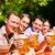 dos · feliz · Pareja · sesión · cerveza · jardín - foto stock © kzenon