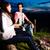 alpes · couple · feu · de · camp · montagnes · séance - photo stock © kzenon