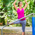 pregnant woman doing pregnancy yoga on fitness trail stock photo © kzenon