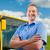 bus · pilote · homme · conduite · travaux · fenêtre - photo stock © kzenon