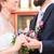 Pareja · iglesia · boda · flores · feliz - foto stock © kzenon