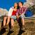boldog · pár · kirándulás · hegyek · elvesz · törik - stock fotó © kzenon