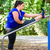 obese woman doing sport stretching outdoors in park stock photo © kzenon