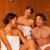 Three people or friends in sauna stock photo © Kzenon