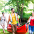 friends carrying kayak or canoe to forest river stock photo © kzenon
