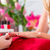 vrouw · salon · manicure · nagel · bloemen · hand - stockfoto © kzenon