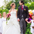 wedding couple with flower children on bridge stock photo © kzenon