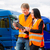forwarder in front of trucks on a depot stock photo © kzenon