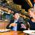 derűs · pár · étterem · szemüveg · vörösbor · lány - stock fotó © kzenon