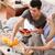 пару · еды · фрукты · кровать · домой · девушки - Сток-фото © kzenon