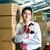 genç · endonezya · işçi · depo · tarayıcı · adam - stok fotoğraf © kzenon