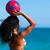 donna · nera · giocare · pallone · da · spiaggia · bikini · colorato · isolato - foto d'archivio © kzenon