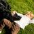 küçük · siyah · köpek · yeşil · çim · bahar - stok fotoğraf © kzenon