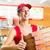 teslim · hizmet · kadın · pizza · kutuları - stok fotoğraf © kzenon