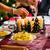 family christmas dinner sausages and potato salad stock photo © kzenon
