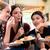 three young women eating cake indoors stock photo © kzenon
