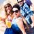 quatre · personnes · séance · plage · ciel · sable · liberté - photo stock © kzenon