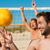 amigos · jogar · praia · voleibol · uma · menina · estratégia - foto stock © kzenon