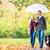 mujer · hombre · caminata · perro · otono · lluvia - foto stock © kzenon