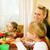 glückliche · Familie · zwei · Kinder · Frühstück · Essen · Familie - stock foto © kzenon