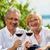 happy couple drinking wine at lake in summer stock photo © kzenon