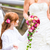 bride in wedding dress with bridesmaids on bridge stock photo © kzenon