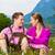 feliz · casal · alpino · prado · tradicional · vestir - foto stock © kzenon