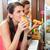 vásárlók · eszik · hotdog · gyorsételek · falatozó · bár - stock fotó © kzenon