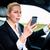vrouw · telefoon · rijden · auto · pak - stockfoto © kzenon