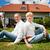 boldog · idős · pár · új · ház · ingatlan · építkezés · otthon - stock fotó © kzenon