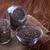 negro · semillas · cuchara · de · madera · azul · pintado · grunge - foto stock © lana_m